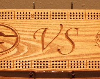 Packer VS Viking Cribbage Board Made From Solid White Ash