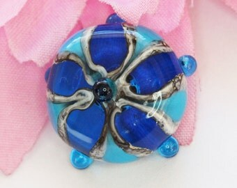 Handmade Glass Topper for Interchangeable Jewelry systems - Galaxy Star - Turquoise and silvered Ivory