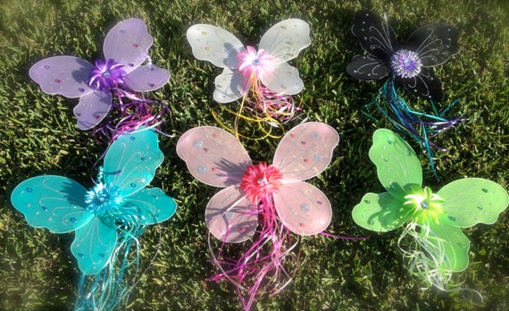 12 Tinkerbell Fairy Princess Wings  with Ribbon and Matching Flower Dress Up Party Favors