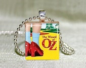 """Wizard of Oz Ruby Slippers Scrabble Jewelry, Choose Necklace or Pendant Only, Wizard of Oz Jewelry, Dorothy Ruby Slippers, 18"""" Chain"""