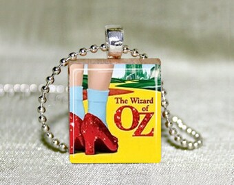 "Wizard of Oz Ruby Slippers Scrabble Jewelry, Choose Necklace or Pendant Only, Wizard of Oz Jewelry, Dorothy Ruby Slippers, 18"" Chain"