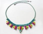 Hand Painted Vintage Neon Rhinestone Necklace  OOAK