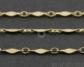 14k Gold Filled Diamond Shape Bar Chain, Lightweight Delicate Links 8x2mm, Sold by the Foot (GF361D/K)(122)