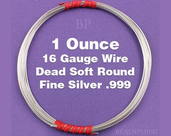 Fine Silver .999 16 Gauge Dead Soft Round Wire on Coil, Pure Silver Wrapping Wire, 1 Full Ounce (Approx. 7.38 Feet ) FS-W16/DS