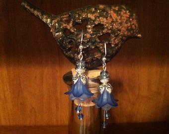 Dark and Light Blue Flower Earrings