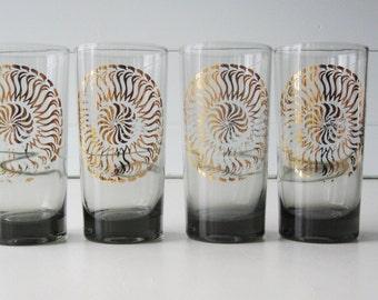 Highball Glasses, Retro Beverage Glasses, Midcentury Barware