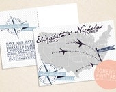 DIY Printable Destination Map Save the Date Design