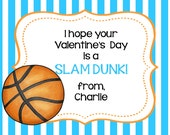 Children's Personalized  Valentines  Day Cards  plus matching round sticker seals,basketball