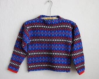Vintage Children's Ski Sweater Norwegian Wool Jersey Modeller of Sweden