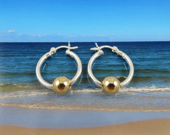 Silver Hoop Earrings with Gold Balls  - Silver and Gold Earrings- Bridesmaids