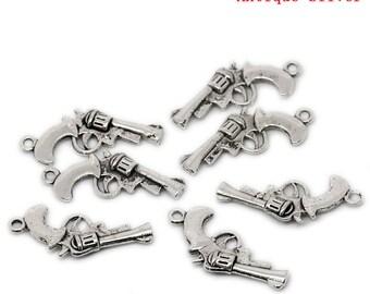 Ten Antique Silver gun charms
