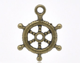 10 Pieces Antique Bronze Ship's Wheel Charms