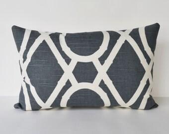 Decorative Pillow Bamboo lattice throw pillow creme and gray pillow cover 12x18''
