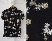 90s vintage asian print nylon shirt // stretchy