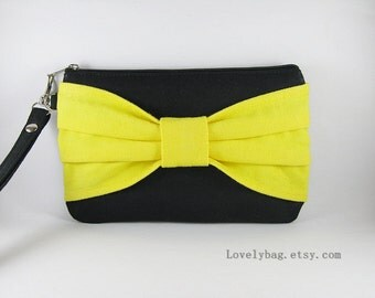 SUPER SALE - Black with Yellow Bow Clutch - Bridal Clutches, Bridesmaid Wristlet, Wedding Gift, Cosmetic Bag, Zipper Pouch - Made To Order