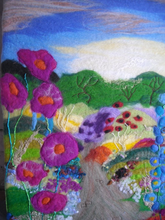 felt picture, wet felted, flower garden