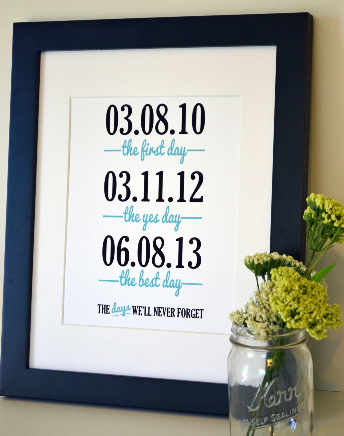 Wedding Anniversary Gift For My Husband : Wedding sign print 11x14 The first day the yes day by laceyfields