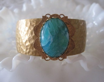 Vintage Brass Hammered Cuff  and Turquiose Cabochon Bracelet