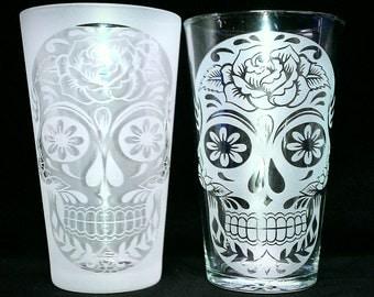 sugar skull rose design drinking glass