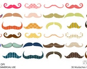 36 Mustaches Digital clip art for Personal and Commercial use - INSTANT DOWNLOAD