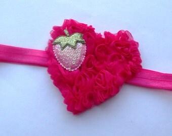 Hot Pink Chiffon Heart Headband,Shabby Flower Headbands,Valentine's Headband,Newborn Headbands,Baby Headbands, Photography Headband