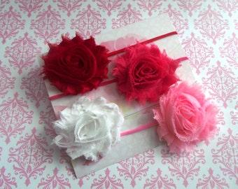Set of 4 Baby Girl Headbands,Gift Set,Shabby Flower Headbands,Newborn Headbands,Photography, Spring
