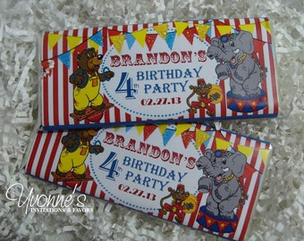 Circus Carnival Birthday Candy Bar Wrapper - Chocolate Bar Favors - Child, First Circus-themed Birthday Party