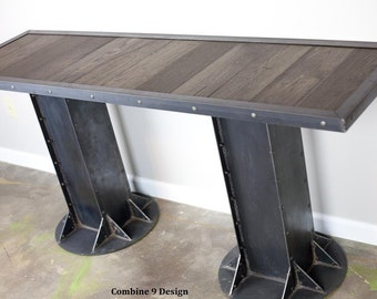 Console Table - Vintage/Modern Industrial, urban/modern/loft design. Avail. w/ reclaimed wood. (Mid Century, Sofa/side). Shelving. TV