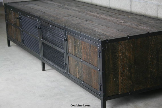 Reclaimed wood TV Stand, reclaimed media Console. Reclaimed Wood credenza. Modern Industrial, Vintage Industrial Style.