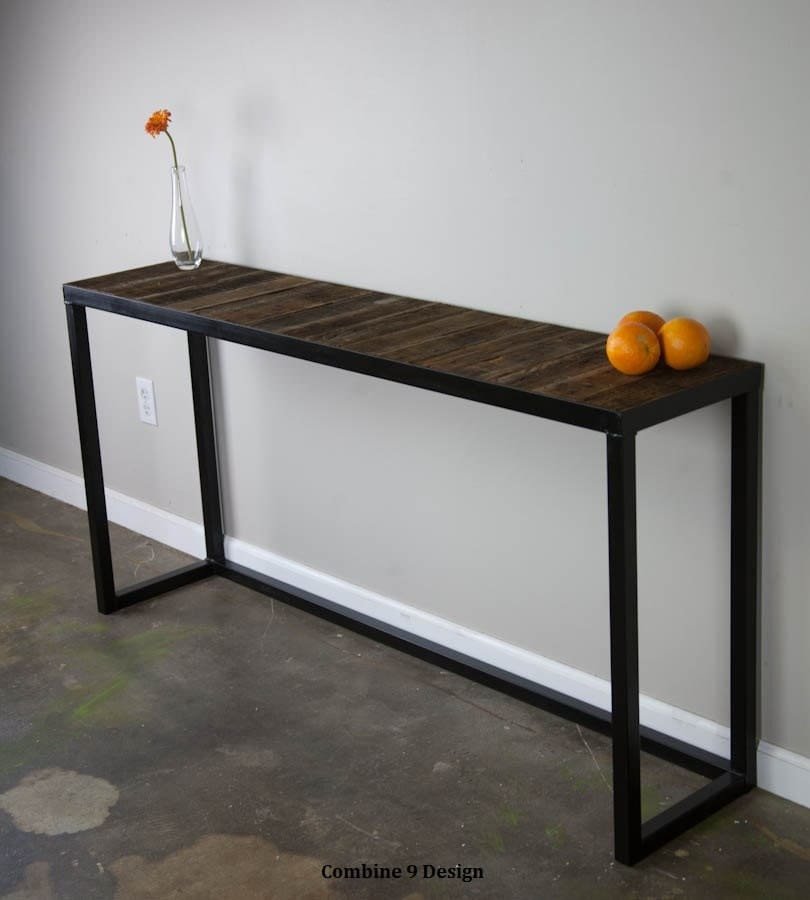 Sofa table with reclaimed wood modern urban vintage mid for Wood and metal console table