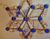 A Stained Glass Snowflake from Six Diamond Shapes  Your Choice of Glass and Color Combination