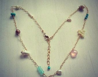 "Ashley 15"" Gold filled sea shell gemstone choker   Made in Hawaii."