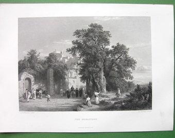 ITALY Landscape Scene Monastery near Pavia - 1850s SUPERB Antique Print