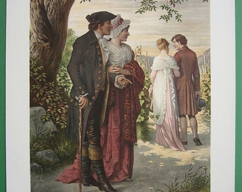 VICTORIAN LOVE  & Life Lucky Daughter Period Costume Fashion - SUPERB Color Lithograph Antique Print