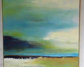 """18""""x24 Teal Seascape painting"""
