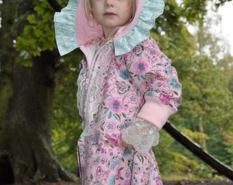 LARA - ruffled hoodie for girls, PDF sewing pattern