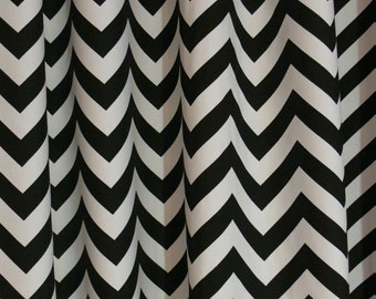 """CUSTOM CURTAINS - A pair of Custom Curtains Zigzag Black and White 24"""" wide X up to 96"""" Long"""