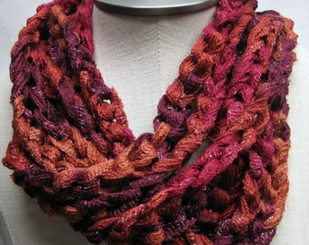 FREE SHIPPING -- Crochet Chain Scarf - Fun and Funky
