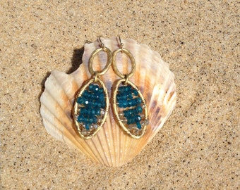 Apatite Blue Crystal Gemstone Earrings, Gold Wire Wrapped Jewelry