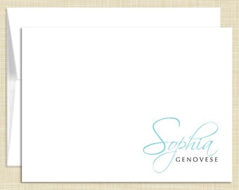 Personalized Note Cards Stationery Set - Chic Single Name - set of 10 - personalized stationary folded cards - choose color