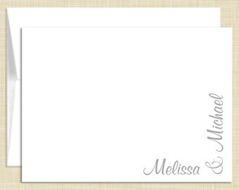 Personalized Note Cards Stationery Set - Follow Me Couple- set of 10 - personalized stationary folded cards - choose color