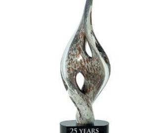 "Trophy Award Premier Spire Twist Art Glass - 15.25"" - FREE Engraving"