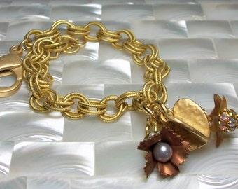 Chain Bracelet, Matte Gold Bracelet, Heart Bracelet, Charm Bracelet, Floral Bracelet, Fashion Jewelry