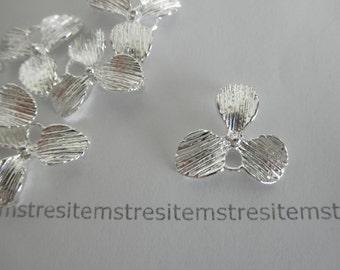 10 orchid flower connectors -silver-