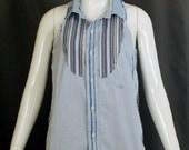 Vintage Remake Sleeveless Shirt - Light Blue