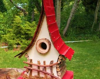 Bird House, functional and decorative birdhouse, unique and  whimsical Birdhouse in color options, garden art, gift, garden decor