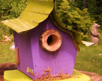 bird house, Birdhouse, small birdhouse in color options, cedar birdhouse