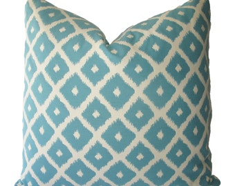 Decorative Designer Reversible Diamond Geometric Ikat Pillow Cover, Aqua, Throw Pillow