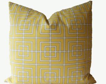 SALE,  Decorative Designer Outdoor Geometric, Lattice, Trellis,  Pillow Cover, Dwell Studio, Yellow, 18x18, 20x20, 22x22, Throw Pillow