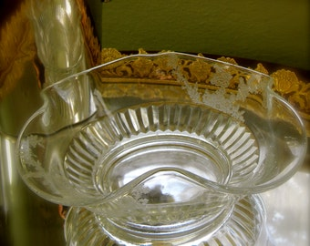 Small Glass Bowl with Fluted/Etched Edges and Cut Glass Bottom